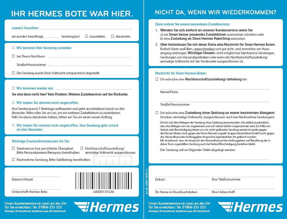 Hermes Benachrichtigungskarte