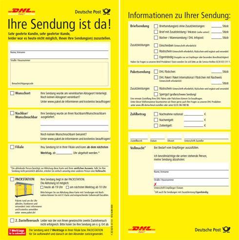 DHL Benachrichtigungskarte