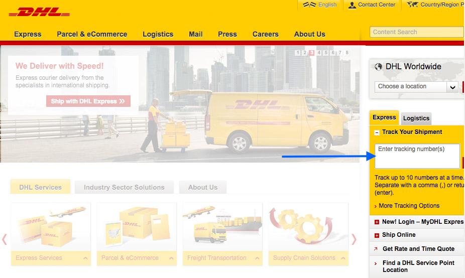 Internationalen Sendungsverfolgung von DHL über www.dhl.com