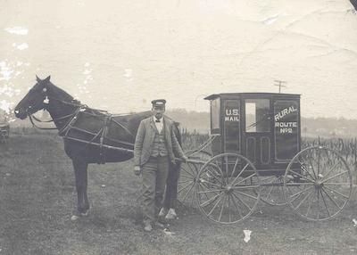 Eine Post Kutsche, ca 1901